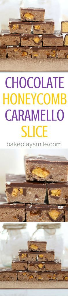 This Chocolate Honeycomb Caramello Slice is completely no-bake and totally delicious! It's made with chunks of chocolate coated honeycomb... this really is perfect for any chocoholics out there! #chocolate #honeycomb #slice #nobake #easy #bars #conventional #thermomix