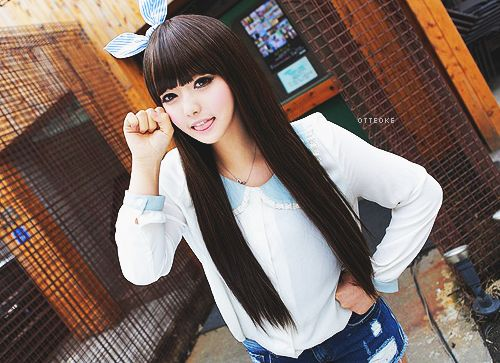 Long Straight Black With Bangs