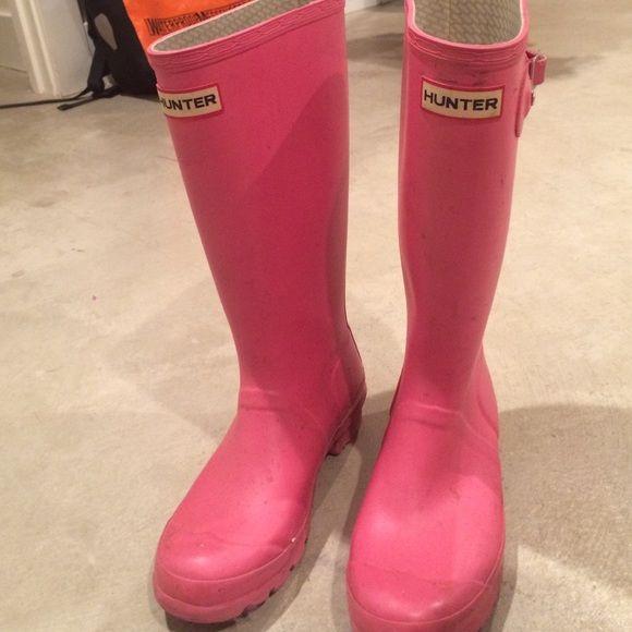 Hunter pink rain boots Pink water proof Hunter Boots Shoes Winter & Rain…
