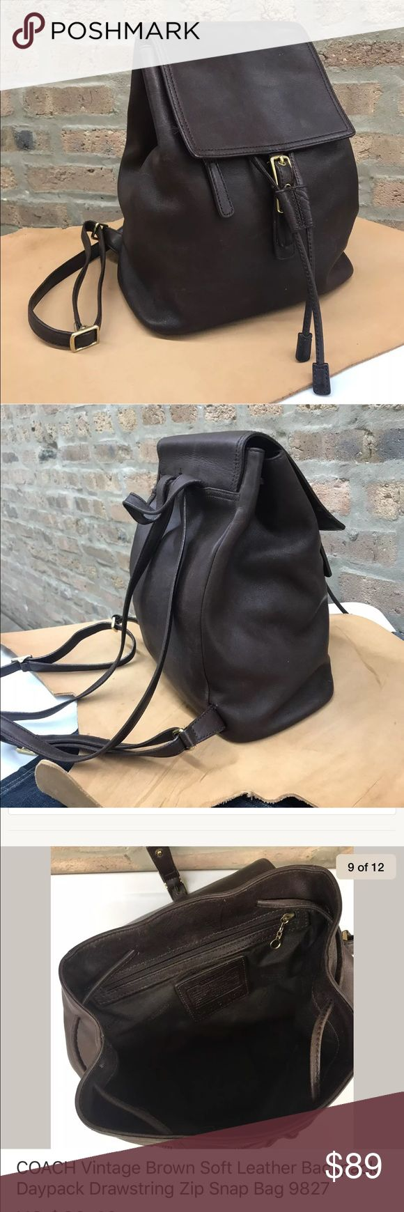 """COACH Vtg Leather Backpack Daypack Drawstring Bag COACH Vtg  Leather Backpack Daypack Drawstring Zip Snap Bag 9827. Wear of leather - more photos ok if interest. Glove Tanned Authentic Lthr. Brass, (Gold-tone) H/ware. Approx. 10"""" x 11"""" x 5. Draw String Closure w/ Magnetic Snap Closure.Magnetic Snap Tab Flap ClosureTop. Int. #9827 Authentic COACH lthr label. Int. Dk Br Fabric Lining. 1 zip pocket, 2 slip pkts. 1 Ext  Front Zip Pkt under flap. 1 Int Front Zip Pkt. 1 Int. Split Double Pkt (seam…"""