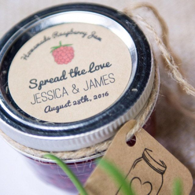 Up your wedding favors game with custom wedding favor labels for raspberry jam from Once Upon Supplies