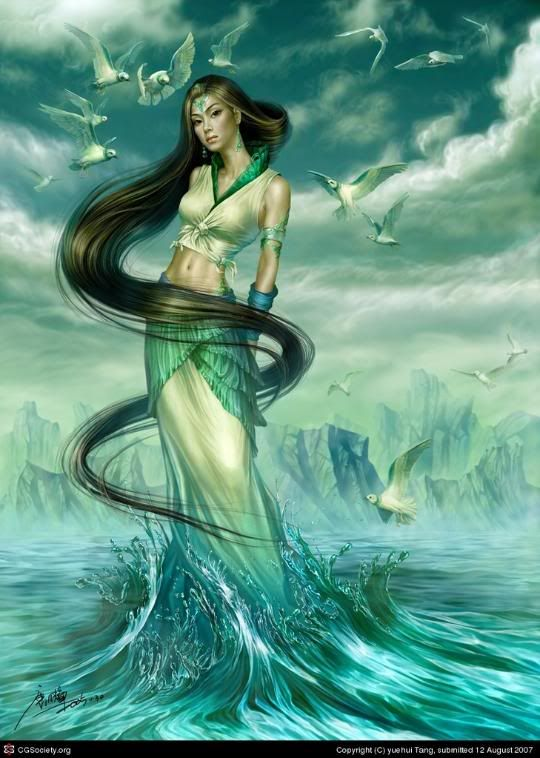 """I need a """"water goddess"""" look for one scene.  I like the collar and overskirt look here."""