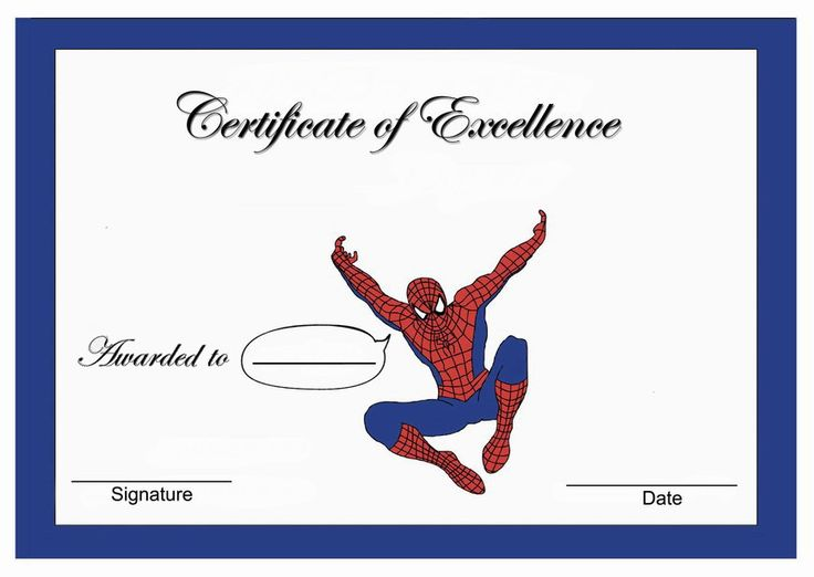 Spiderman Themed Award Certificates