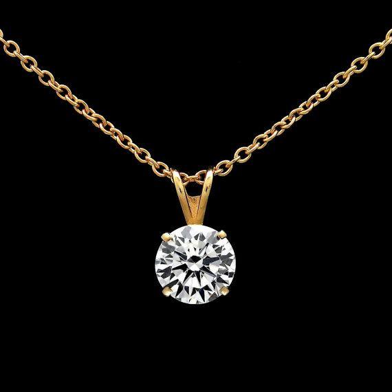 """1,5 CT diamant taille brillant de laboratoire créé Solitaire pendentif 18"""" collier 14K or jaune du câble chaîne à maillons ronds coupés VVS1"""