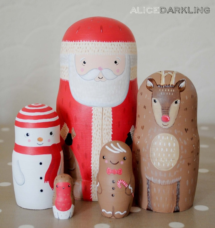 Alice Darkling: Christmas nesting dolls (russian / matryoshka / stacking dolls): Santa, Reindeer, Snowman, Gingerbread Man & Robin