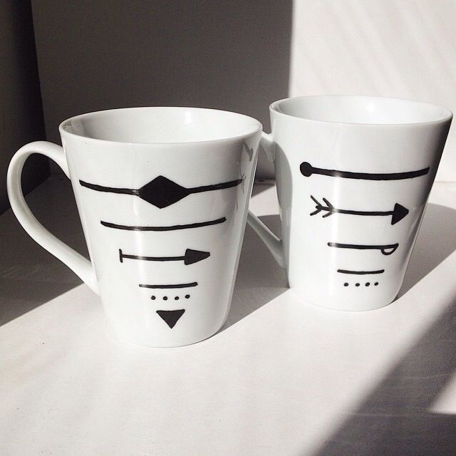 Geometric pattern - hand decorated mugs