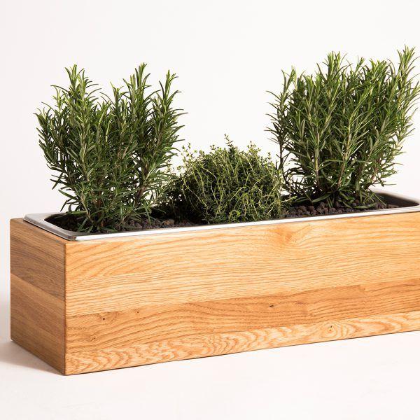 kr uterboxen aus eichenholz mit edelstahleinsatz f r k chenkr uter greenhaus k che. Black Bedroom Furniture Sets. Home Design Ideas