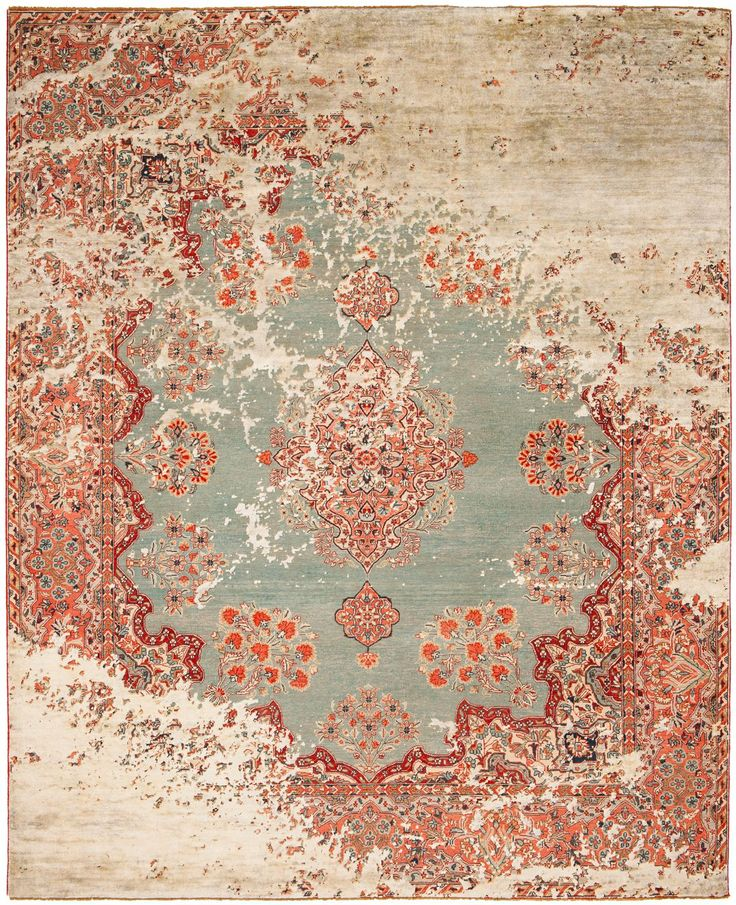 This Hand Made Designer Rug Is A Combination Of Traditional Persian Ornamentation And Kath S Trademark Distressed Effects The Rugs Are Knotted Under