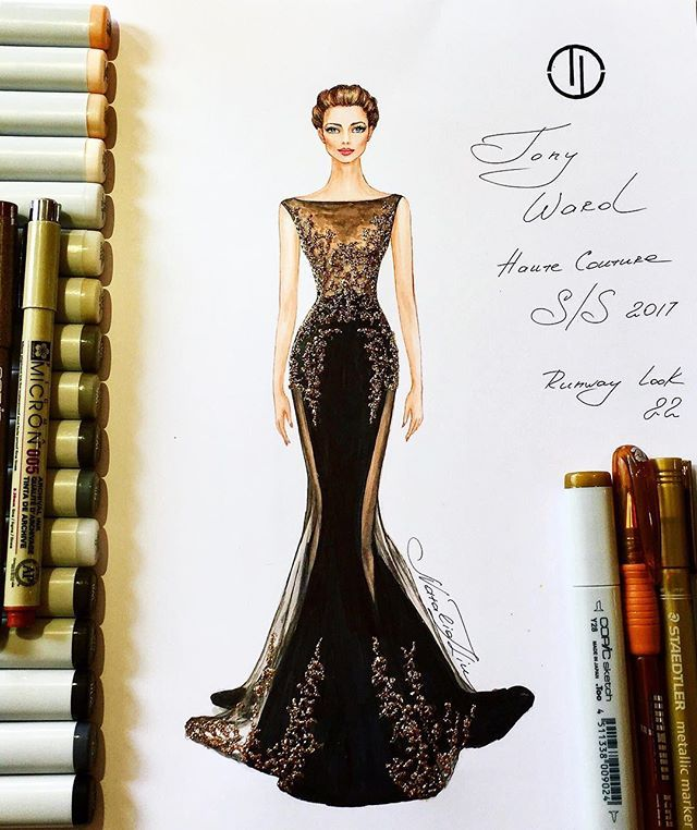 Luxurious Tony Ward couture velvet gown ✨⚜️✨ (Haute Couture collection Spring Summer 2017) @tonywardcouture #handdrawn #sketch #tonyward #fashionillustration #luxury #designer #paris #art #glamour #luxurious #couture #event #embroidery #hautecouture #beautiful #velvet #gown #dress #instafashion #instalike #nataliazorinliu #fashion #draw #followme #blogger #follow #copic #instagood #chic #fashionista