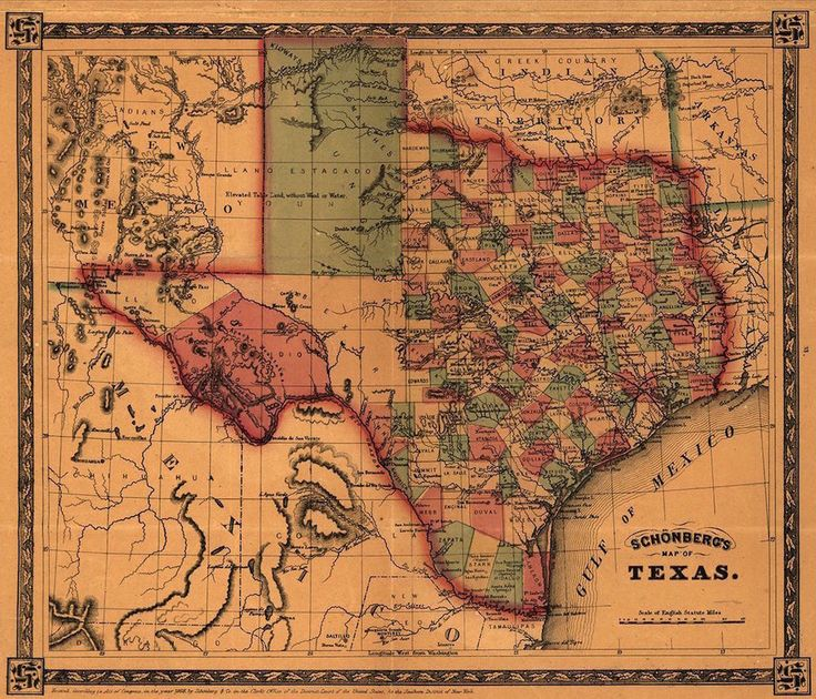 MAP OF TEXAS, 1866 Vintage Texas State Map Rolled CANVAS PRINT 28x24 in. #Vintage