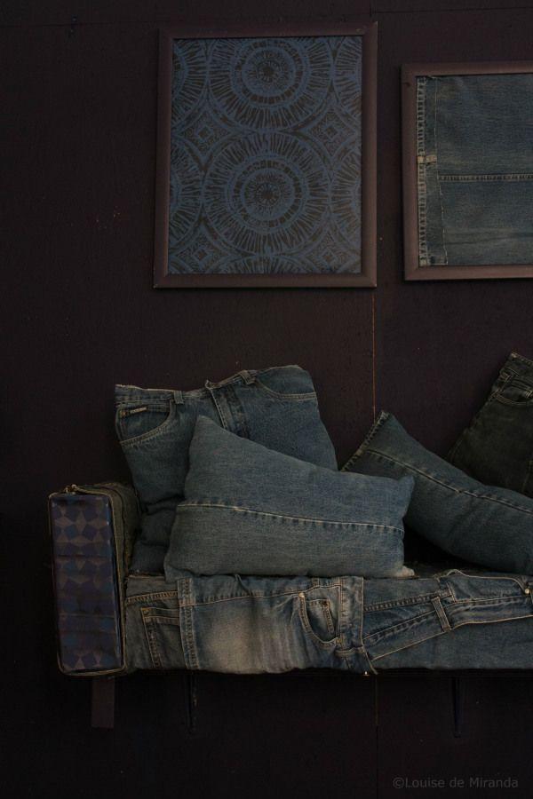 denim decor, pillows