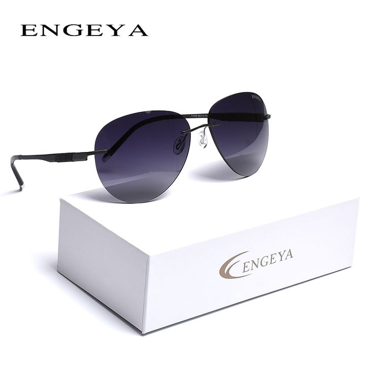 ==> [Free Shipping] Buy Best 2016 ENGEYA Titanium Alloy New Fashion Rimless Sunglasses Brand Designer Luxury Driving Sun Glasses For Men Women UV400 Online with LOWEST Price | 32765388641