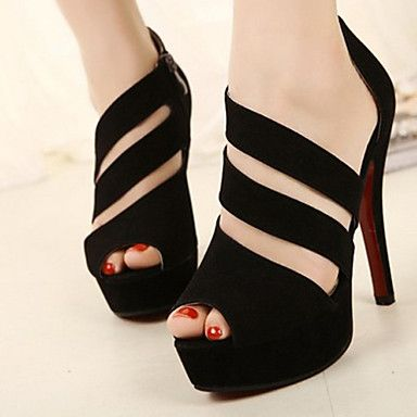 Women's Shoes  Three Strap Topline Stiletto Heel Peep Toe Sandals Shoes  – USD $ 20.74
