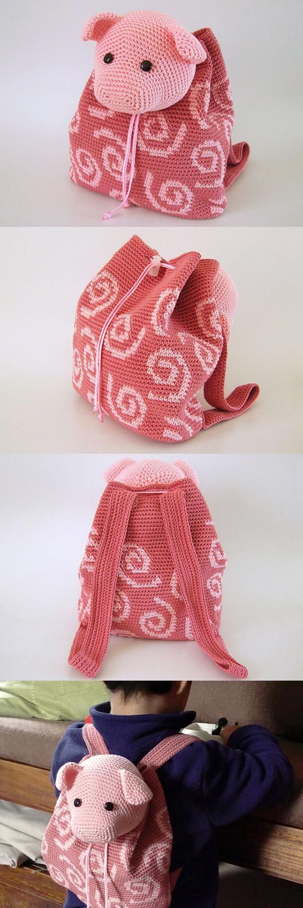 Pig Backpack Crochet Pattern                                                                                                                                                                                 Más