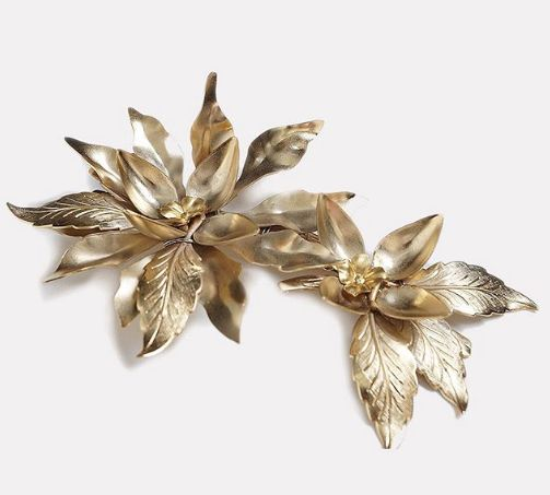 Gold leaf design hair clip by a.b. Ellie. Available in store in 2018.