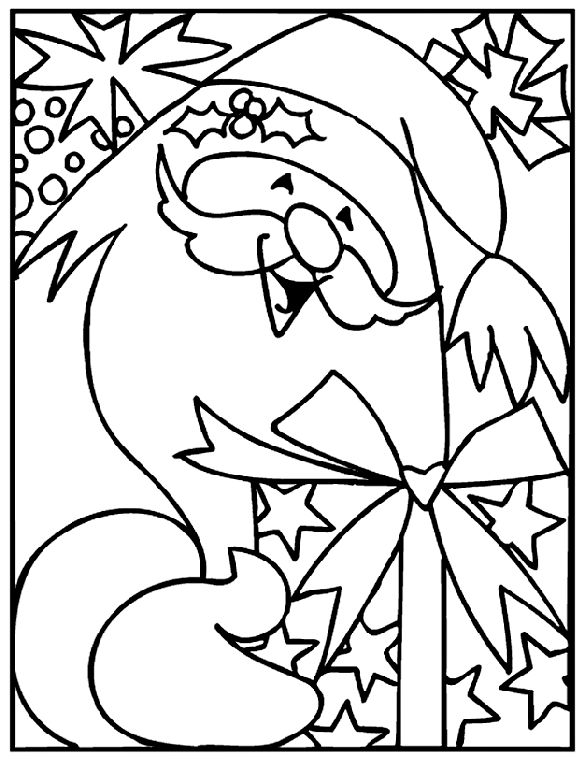 santa coloring page adult coloring pages pinterest santa gift and craft