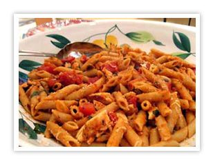 Vodka, tomato and basil chicken penne pasta: Take out mushrooms and instead saute red peppers and green peppers with the garlic. MMMM one of my fav dinners !
