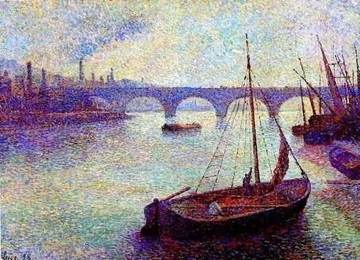 Wonderful riverscape by Maxmilien Luce - a favorite Impressionistic Pointilist.