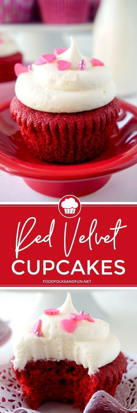 If you love Red Velvet Cake, then you'll LOVE these Red Velvet Cupcakes with Vanilla Cream Cheese Frosting! They're so moist and homemade! | #redvelvet #cupcakes #dessert #valentinesday #treat