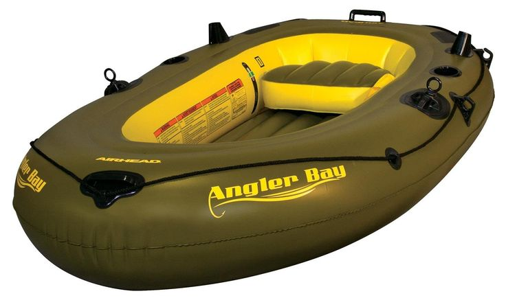 Airhead Angler Bay 3 Person Inflatable Boat AHIBF-03 -Fishing and Safe Water Ready