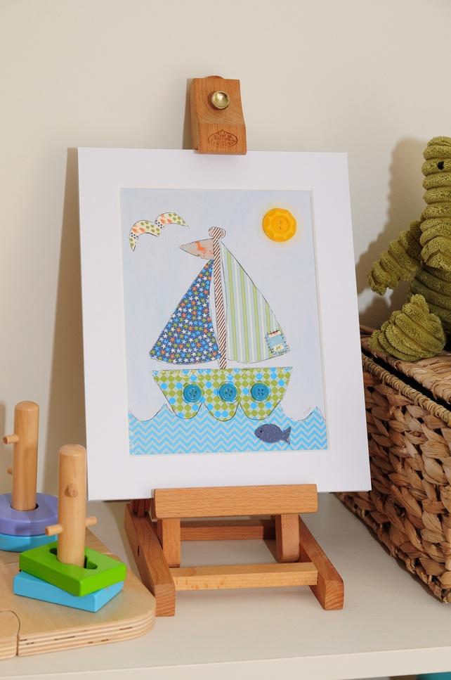 Boys Sailing Boat Nautical Original Collage... - Folksy