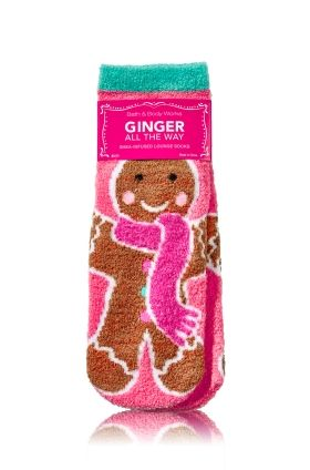 Ginger All The Way - Shea-Infused Lounge Socks - Bath & Body Works - It's beginning to look a lot like Christmas with these gingerbread cookies on our super-soft socks! Infused with Shea Butter to pamper your feet and finished with non-skid grips on the bottom, these are the perfect socks for kicking back to relax! Also makes a great stocking stuffer.