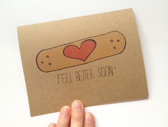 Cute/easy DIY card idea (if you couldn't afford buying it from etsy) ~ Feel Better Soon Band-aid Heart - Recycled Get Well Card, Hand Drawn Card