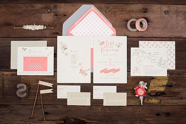 Oh So Beautiful Paper: Jill + Brian's Modern Pink Letterpress Wedding Invitations