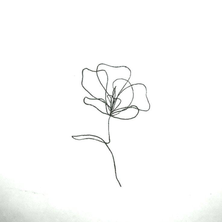 Idée de tatouage de fleur en ligne continue # Fleur # ligne # Idée de tatouage # Sans interruption   – Drawing
