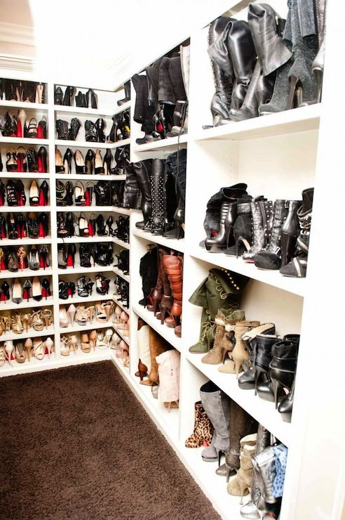 The Coveteur: Khloe Kardashia - Fantastic walk-in shoe closet with creamy white built-in shoe shelves ...