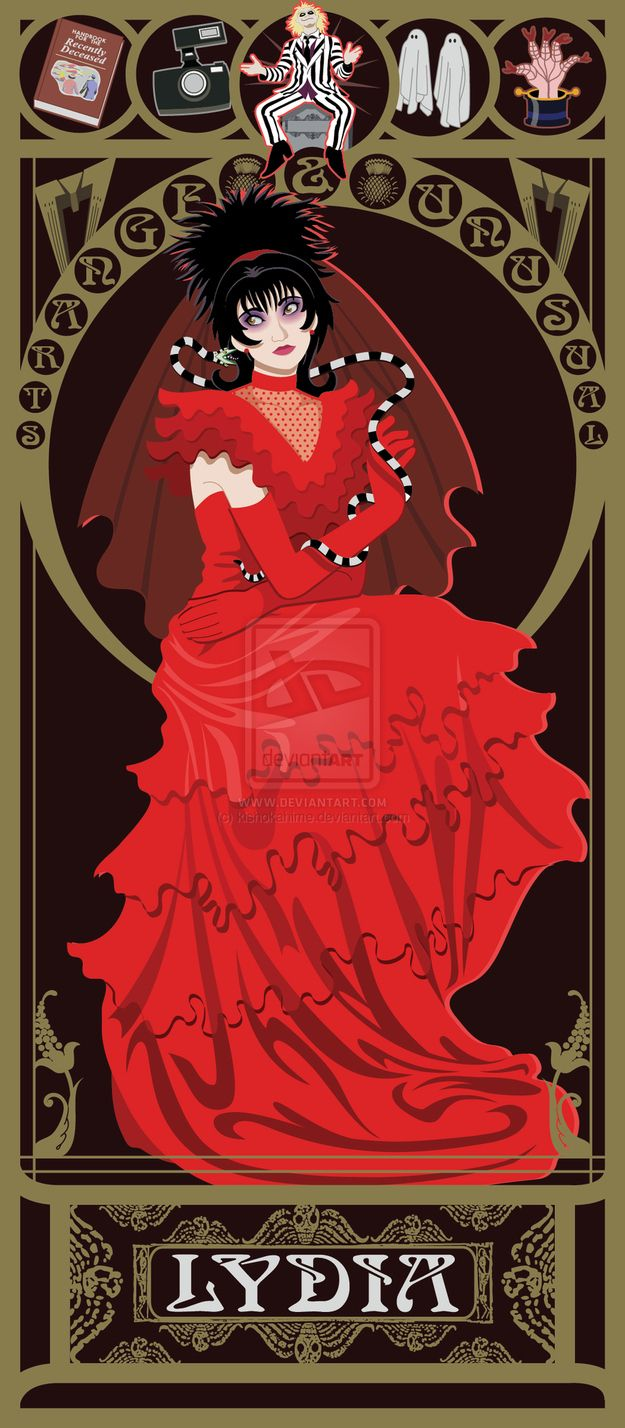 Lydia Deetz - Beetlejuice | 10 Beautiful Art Nouveau Posters Of '80s And '90s Movie Heroines