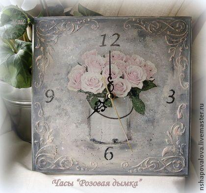 """Часы для дома ручной работы. Ярмарка Мастеров - ручная работа Часы """"Розовая дымка"""". Handmade."""