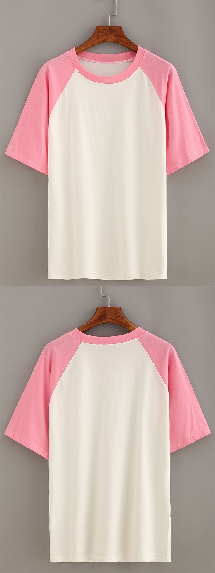 Summer color-block tops-Pink Short Sleeve Raglan T-shirt. Love raglan tops simple like this. US$7.99 now.