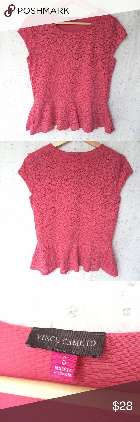 """Vince Camuto Lace Peplum Top Pink Floral Small Vince Camuto lace peplum top. Size small. Perfect for spring/summer! May show wear and some fuzziness/pilling. 18.5"""" across chest and 22.5"""" long from shoulder. Vince Camuto Tops"""