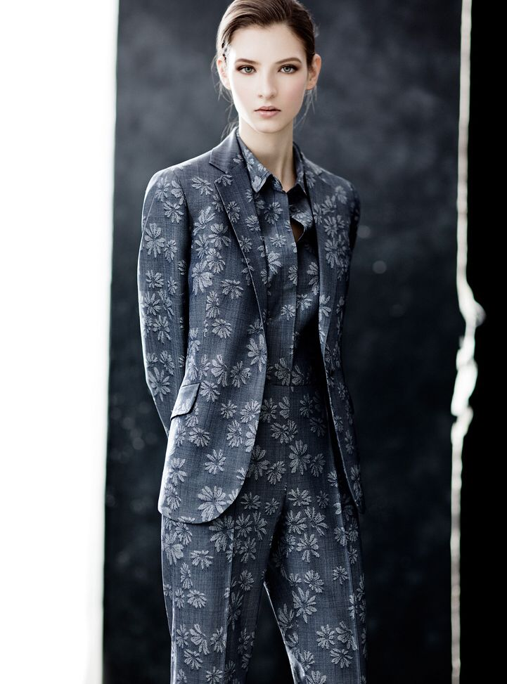 Luxe superfine wool floral jacquard jacket, slim leg trouser, and sleeveless shirt.