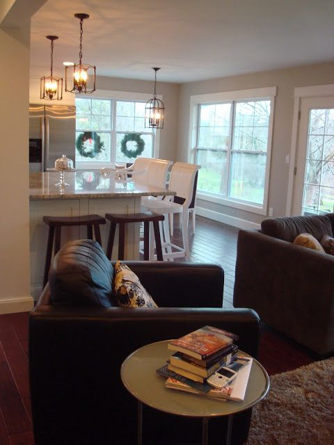 Love The White Trim And Grey Walls In This Open Concept