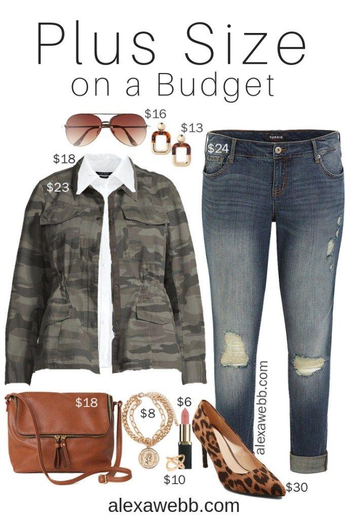 43311238cc454 Plus Size on a Budget – Camo Jacket Outfit - Plus Size Casual Outfit - Plus