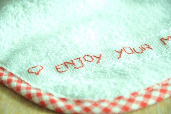 handembroidered bib in soft terry cloth by manufattofattoamano, $9.00