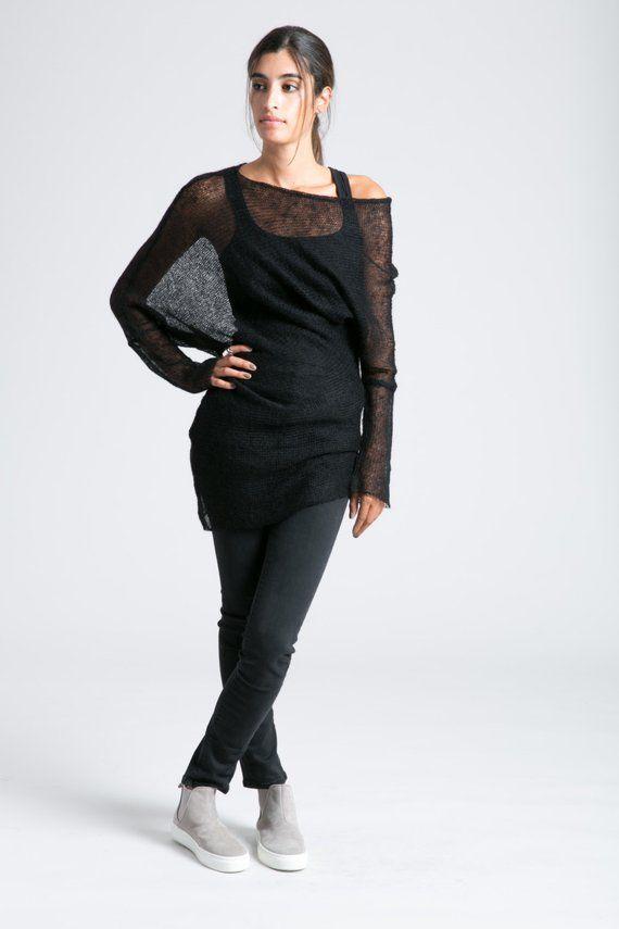 ea8a7381b Off Shoulder Sweater   Asymmetric Blouse   Oversize Cardigan   Black ...