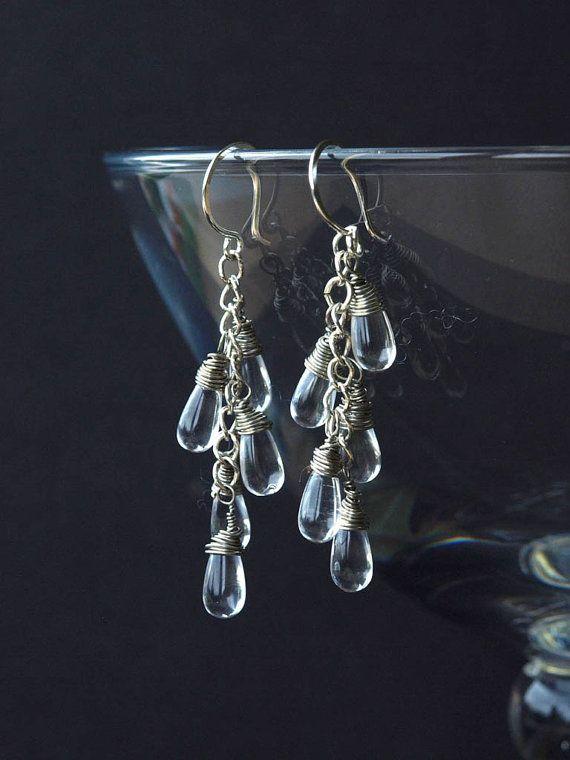 British winters often include a lot of rain! CASCADE glass and chain handmade rain drop earrings by HandmadeEarringsUk
