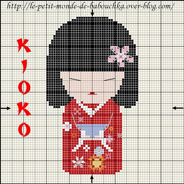 Kokeshi cross stitch