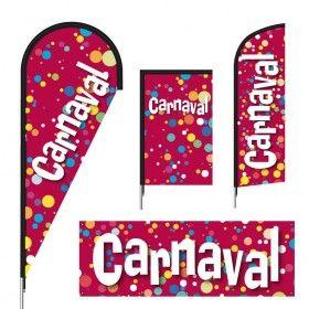 Drapeaux bâches publicitaires imprimés modèle CARNAVAL (pluie de confettis)