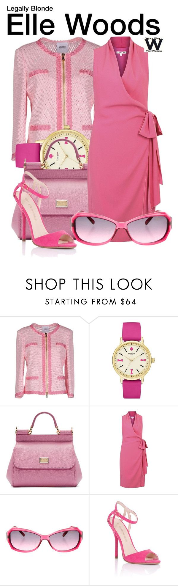 """Legally Blonde"" by wearwhatyouwatch ❤ liked on Polyvore featuring Moschino Cheap & Chic, Kate Spade, Dolce&Gabbana, Paule Ka, Chopard, Lipsy, wearwhatyouwatch and film"
