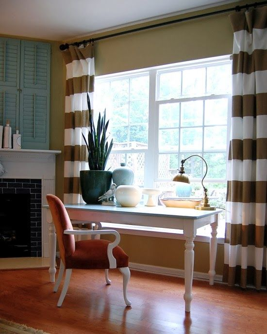 office drapes. love the horizontal striped drapes maybe in office or dining room