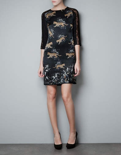 SILK PRINTED DRESS ZARA
