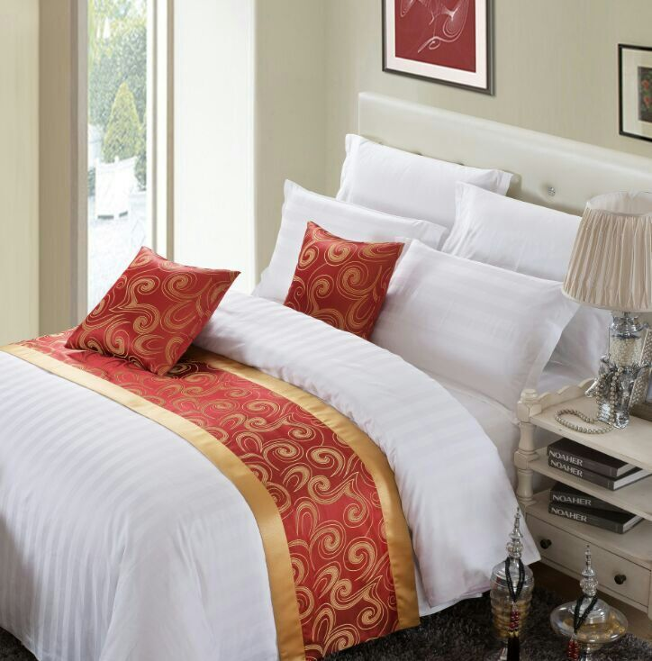 2016 New Arrival Luxury Hotel Bed Runner Gold Edge Red Classic Bed Runner Photo…
