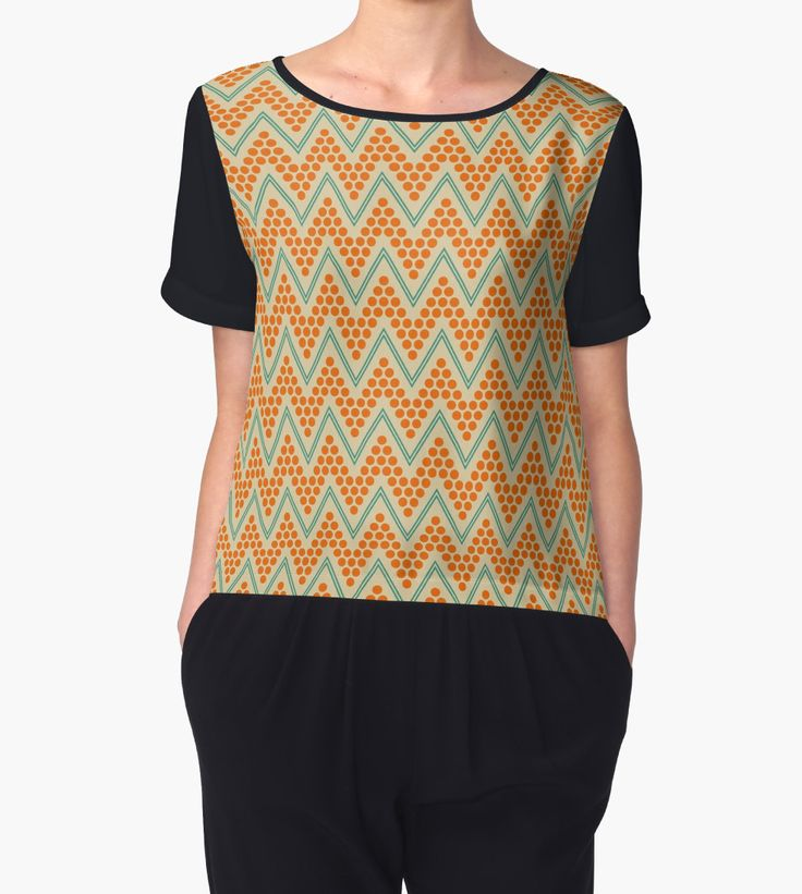 """Geometric chevron pattern"" Chiffon Tops by LunaPrincino 