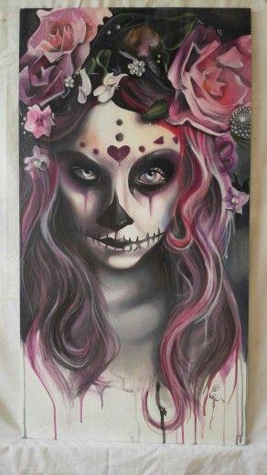 Pinkskull, 80x41 cm. Verkocht.