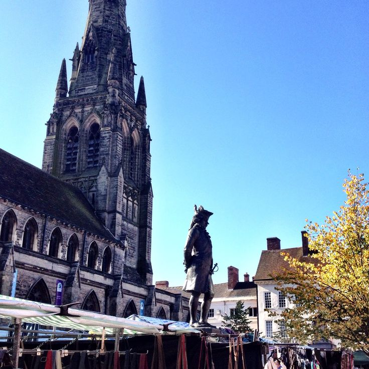 St Mary's church and street market in Lichfield city ,Staffordshire