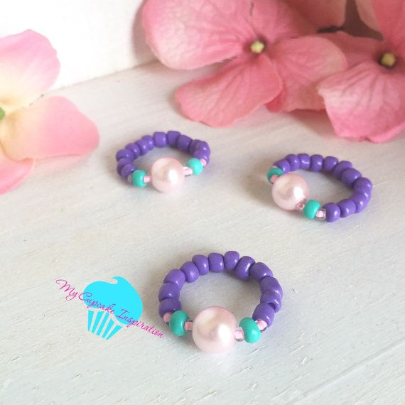 Mermaid Party Favors, Pink and Purple Pearl Stretch Rings, Little Girl Jewelry, Kids Rings, Mermaid Costume, Toddler, Girl Gifts